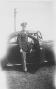 "Dad, in the 1940s with a favorite car. He could talk ""forever"" and very intelligently about his cars!"