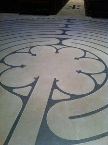 Detail of center, from labyrinth at Grace Cathedral, San Francisco