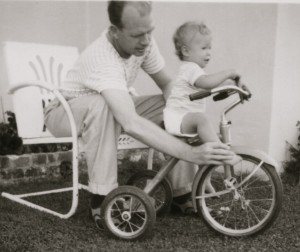 Dad teaching me about a bike, er, trike!