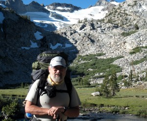 Alka-Seltzer Man, at Lyell Glacier below Donahue Pass, in Yosemite...