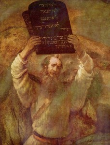 Moses with tablets of the Ten Commandments, painting by Rembrandt, (1659)