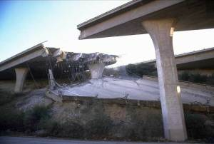 Dad and I, along with others, stumbled across a shattered freeway system...