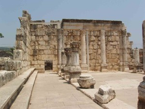 The remains of the synagogue in Capernaum.