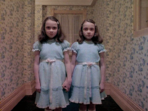 "The ""evil twins"" from the 1980's movie, ""The Shining."""