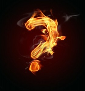 Flames shaped like question marks . . .