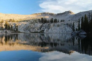 A lake in the southern Yosemite wilderness . . .