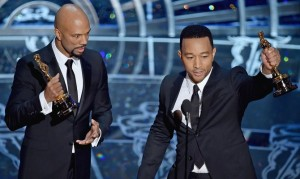 "Common and John Legend accepting their Oscar for ""Selma."""