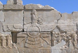 Faravahar, the visual aspect of Ahuramazda. Relief from Persepolis