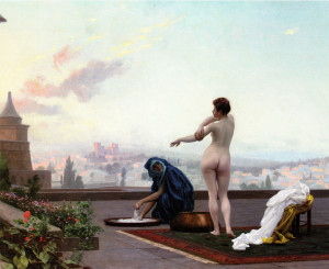 Artist Jean-Leon Gerome's (1824-1904) depiction of Bathsheba bathing as viewed from David's perspective. Although David had got up at night when he saw her, this is portrayed as if in daytime.