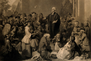 John Wesley preached many sermons outdoors, anywhere everyday people gathered. (Photo is public domain, from Wikimedia Commons.)