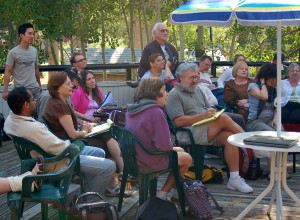 Find the gray-bearded guy with a notepad. (Writers Workshops Photo by Brett Hall)