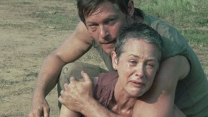 "Carol reacts to seeing her daughter in ""The Walking Dead"""