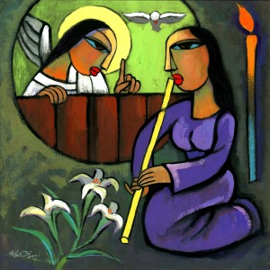 """The Annunciation"" - He Qi (And yes, I know the annunciation doesn't happen on Advent-4, but I felt an emotional tug for this He Qi painting...)"